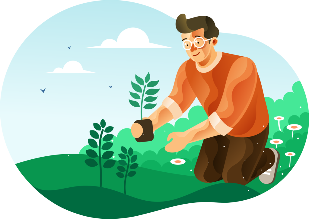 Man planting trees for greening illustration